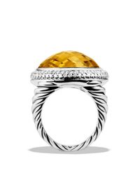 David Yurman | Metallic Dy Signature Oval Ring with Lemon Citrine Diamonds | Lyst
