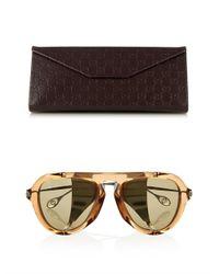 Gucci - Brown Metal-Blinker Aviator-Style Sunglasses for Men - Lyst
