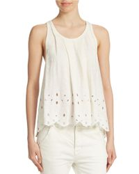 Free People | White Embroidered Cotton Tank Top | Lyst