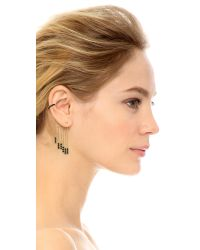 Noir Jewelry | Metallic Tassel Earrings - Black/gold | Lyst