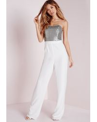 Missguided - Metallic Sequin Embellished Bandeau Jumpsuit Silver - Lyst