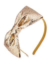 kate spade new york - Metallic Girls' Glittered Large Bow Headband - Lyst