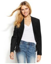 INC International Concepts - Black Faux-Suede Fringe Jacket - Lyst