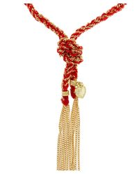 Carolina Bucci | Red Silk And Gold Chain Lucky Heart Charm Bracelet | Lyst