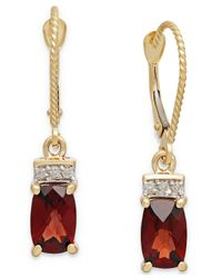 Macy's | Red Garnet (2-3/8 Ct. T.w.) And Diamond Accent Drop Earrings In 14k Gold | Lyst