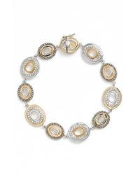 Judith Jack | Metallic Crystal & Marcasite Two Tone Bracelet | Lyst
