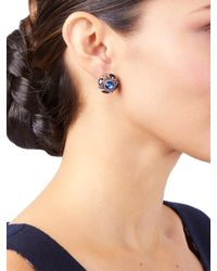 Oscar de la Renta | Blue Crystal Button Earrings | Lyst
