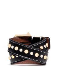 Givenchy - Black Stud Calf Leather Bracelet - Lyst