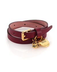 Alexander McQueen - Purple Leather Skull Wrap Bracelet - Lyst
