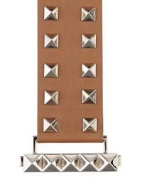 Valentino - Rockstud Medium Brown Leather Cuff - Lyst