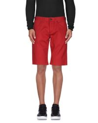 Roberto Cavalli - Red Denim Bermudas for Men - Lyst