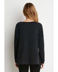 Forever 21 - Black Dolman-sleeve Distressed Sweatshirt - Lyst