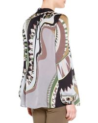 Emilio Pucci - Natural Printed Silk Lace-up Keyhole Top - Lyst