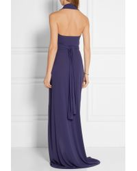 Norma Kamali | Blue Convertible Jersey Halterneck Wrap Dress | Lyst