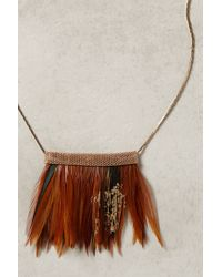 Anthropologie - Metallic Fanned Feather Necklace - Lyst