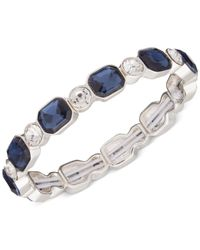 Anne Klein | Silver-tone Blue And Clear Stone Stretch Bracelet | Lyst