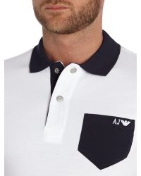 Armani Jeans - White Regular Fit Contrast Pocket Polo Shirt for Men - Lyst