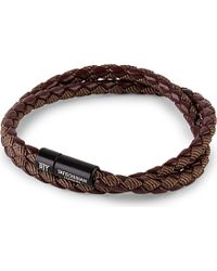 Tateossian - Brown Chelsea Leather Double-wrap Bracelet for Men - Lyst