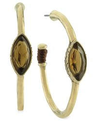 The Sak | Metallic Gold-tone Light Smoky Topaz Stone Hoop Earrings | Lyst