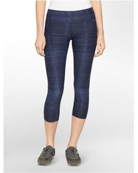 Calvin Klein | Blue White Label Performance Denim Print Crop Leggings | Lyst