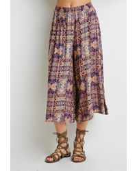 Forever 21 | Orange Kaleidoscope Print Culottes | Lyst
