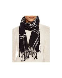 Aqua | Black Windowpane Scarf | Lyst