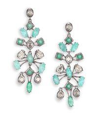 Alexis Bittar | Elements Moonlight Amazonite, Green Chalcedony & Crystal Spur Lace Chandelier Earrings | Lyst