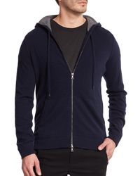 Vince - Blue Cashmere Zip-front Hoodie for Men - Lyst