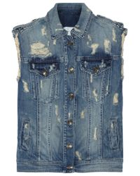 Balmain | Blue Distressed Denim Vest | Lyst