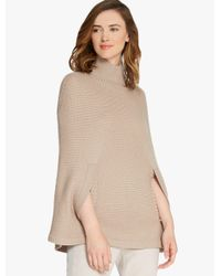 Halston | Natural Mock Neck Poncho | Lyst