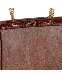 Etro - Brown Handbag Arnica Shopping In Leather With Paisley And Chain Print - Lyst
