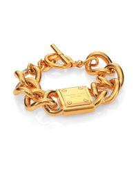 Michael Kors | Metallic Padlock Logo Plaque Curb Chain Bracelet | Lyst