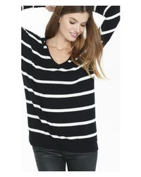 Express - Black Hint Of Cashmere Striped V-neck Wedge Sweater - Lyst