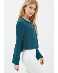 Forever 21 | Green Pleated Bell-sleeve Top | Lyst