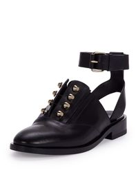 Balenciaga - Black Studded Leather Derby Flats - Lyst