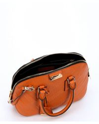 Burberry - Copper Orange Check Leather 'orchard' Small Bowling Bag - Lyst