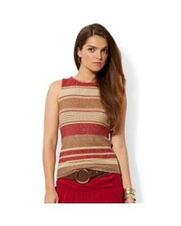 Lauren by Ralph Lauren | Red Sleeveless Striped Sweater | Lyst