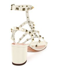 Valentino - White Rockstud Leather Sandals - Lyst