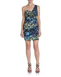 BCBGMAXAZRIA - Black One-shoulder Floral-print Dress - Lyst