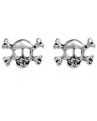 Aeravida - Metallic Petite Punk Skull/pirate .925 Silver Stud Earrings - Lyst