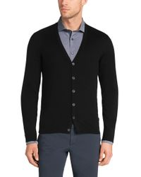 BOSS - Black Cotton Cardigan With Ribbed Cuffs: 'finori' for Men - Lyst