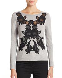 Diane von Furstenberg - Gray Shana Floral Appliqué Sweater - Lyst