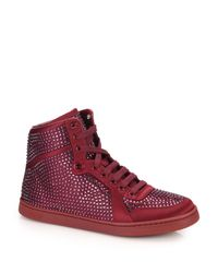 Gucci | Purple Coda Crystal Studded High-top Sneakers | Lyst
