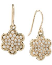 Carolee | Metallic Gold-tone Faux Pearl Flower Drop Earrings | Lyst