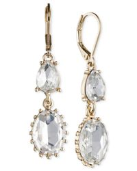Nine West | Metallic Gold-tone Crystal Double Drop Earrings | Lyst