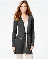 Calvin Klein | Gray Buckled Wool-blend Cardigan | Lyst