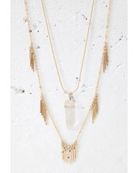 Forever 21 - Metallic Faux Stone And Matchstick Charm Necklace - Lyst