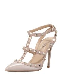 Valentino | Natural Rockstud Patent-Leather Pumps | Lyst
