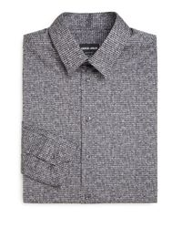 Giorgio Armani - Black Slim-fit Printed Dress Shirt for Men - Lyst