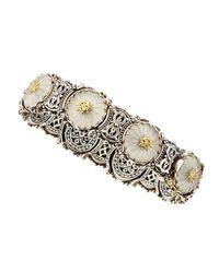 Konstantino - Metallic Medium Flower Carved Frosted Crystal Bracelet - Lyst